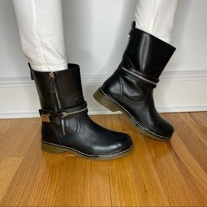 Zara Leather Boots Color Black/Silver